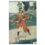 ¡2014 calendarios, piratas del vintage!