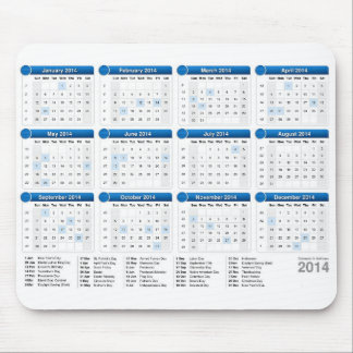 2014 Calender with Holidays Mouse Pad