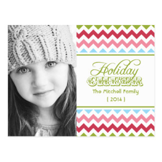 2014 Colorful Chevron Photo Holiday Postcard
