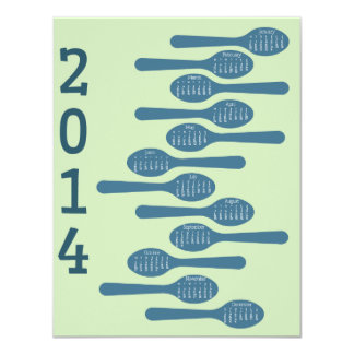 2014 cooking calendar for business 4.25x5.5 paper invitation card