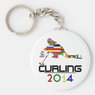 2014: Curling Basic Round Button Keychain