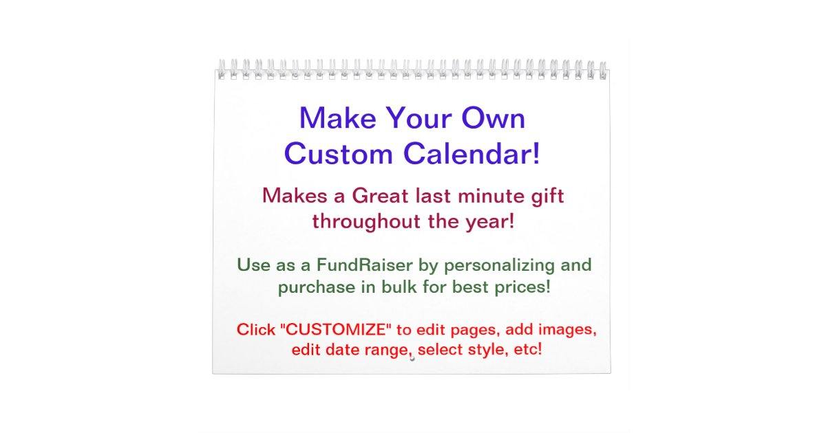 2014 design your own calendar make your own zazzle for Create your own blueprint