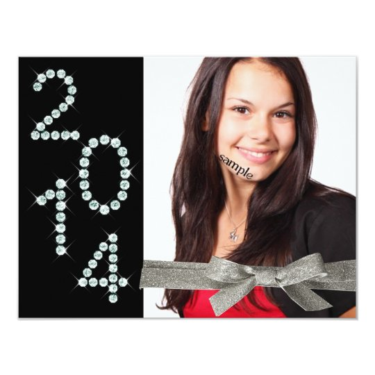 2014 Diamond Bling Glitter Ribbon Photo Graduation Card