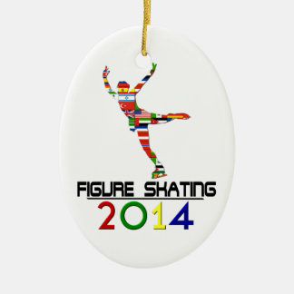 2014: Figure Skating Double-Sided Oval Ceramic Christmas Ornament