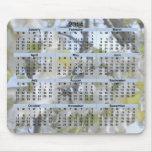 2014 flores blancas Mousepad del calendario Alfombrillas De Raton