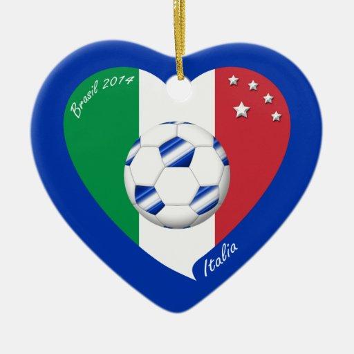 2014 FÚTBOL mundial de ITALIA bandera y balón azul Adorno De Cerámica En Forma De Corazón