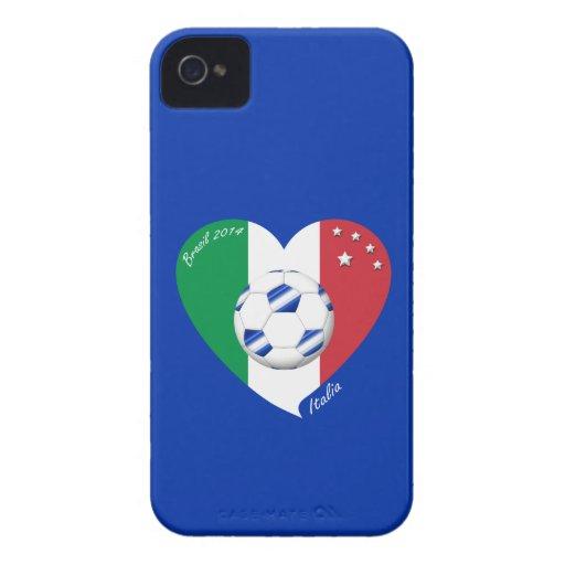 2014 FÚTBOL mundial de ITALIA bandera y balón azul Case-Mate iPhone 4 Cobertura