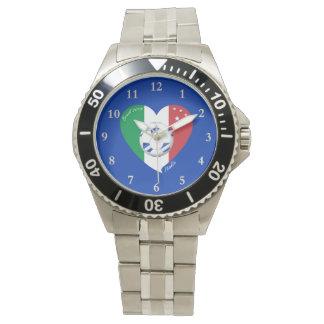 2014 FÚTBOL mundial de ITALIA bandera y balón azul Reloj