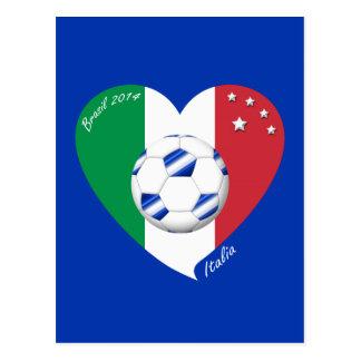 2014 FÚTBOL mundial de ITALIA bandera y balón azul Postales