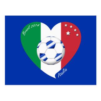 2014 FÚTBOL mundial de ITALIA bandera y balón azul Tarjetas Postales
