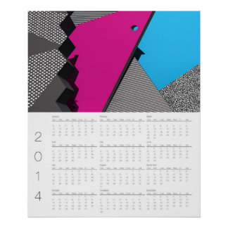 2014 Geometric Abstract Wall Calendar Poster