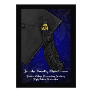 2014 graduación negra y azul del encanto 5x7 de la