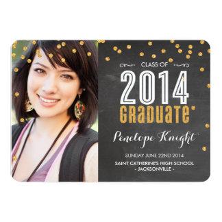2014 GRADUATE gold glitter confetti chalkboard Personalized Invitation