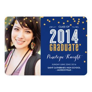 2014 GRADUATE gold glitter confetti royal blue Invites