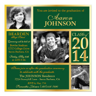 2014 Graduation Commencement Hunter Green and Gold Personalized Invitations