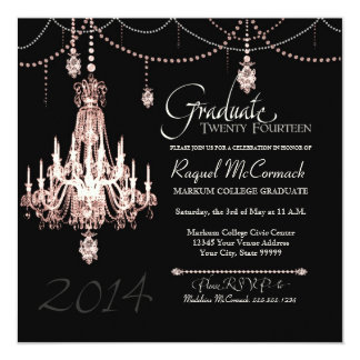2014 Graduation FAUX French Crystal Chandelier Announcements