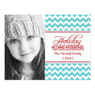2014 Hip Chevron Photo Holiday Postcard