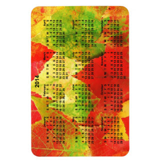 2014 hojas coloridas del calendario iman rectangular