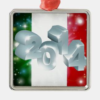2014 Italian flag Silver-Colored Square Decoration