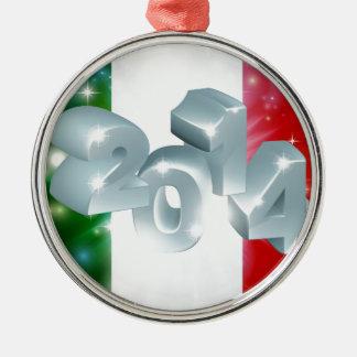 2014 Italian flag Silver-Colored Round Decoration