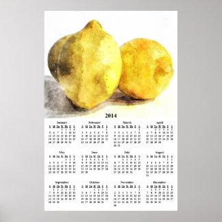 2014 limones en calendario de pared de la tabla de impresiones