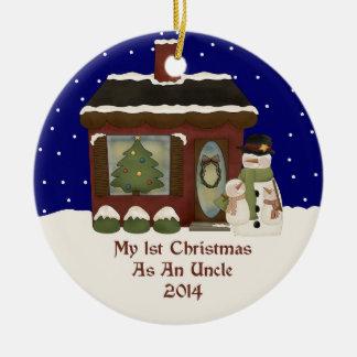 2014 mi 1r navidad como tío adorno navideño redondo de cerámica
