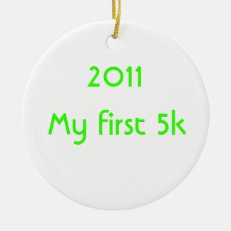 2014 mi primer 5k adorno navideño redondo de cerámica