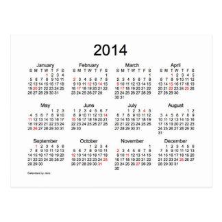 2014 Mini Calendar with Holidays Post Card