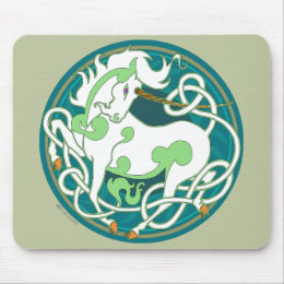2014 Mink Office: Unicorn Mouspad - Green/White Mouse Pad