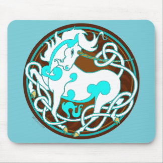 2014 Mink Office: Unicorn Mouspad - White/Turquois Mouse Pad