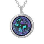 2014 Mink Style Unicorn Stud Earrings - Black/Blue Silver Plated Necklace