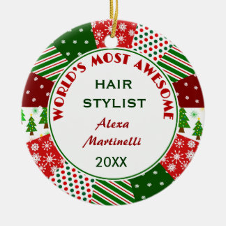 2014 Most Awesome Hair Stylist or Any Person Double-Sided Ceramic Round Christmas Ornament