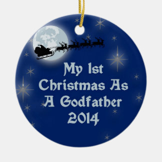 2014 My 1st Christmas As A Godfather Double-Sided Ceramic Round Christmas Ornament