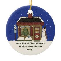 2014 New Home Christmas Snowman Cabin Ceramic Ornament