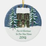 2014 New Home Christmas Snowy Prim House Christmas Ornament