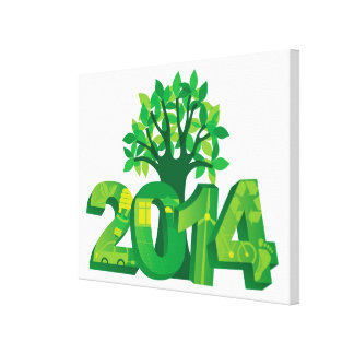 2014 New Year Numerals Go Green Symbols with Tree Canvas Print