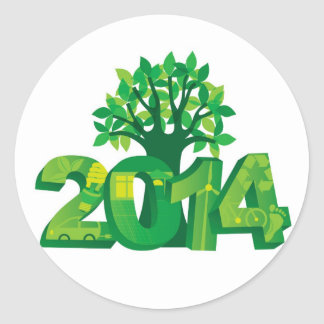 2014 New Year Numerals Go Green Symbols with Tree Classic Round Sticker