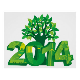 2014 New Year Numerals Go Green Symbols with Tree Poster