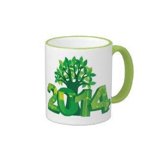 2014 New Year Numerals Go Green Symbols with Tree Ringer Mug