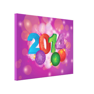 2014 New Year with Snowflakes Design Canvas Print