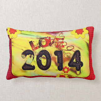 2014 New Years Colorful Pattern Peace Love Destiny Lumbar Pillow