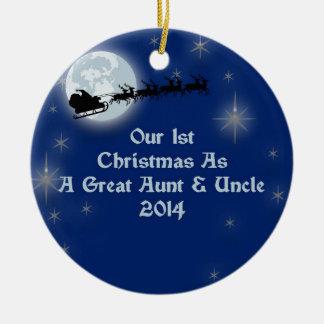 2014 nuestro 1r navidad como una grandes tía y tío adorno navideño redondo de cerámica
