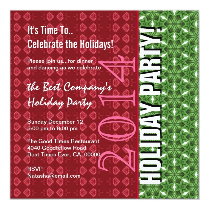 2014 or Any Year Office Holiday Party Red Green Card