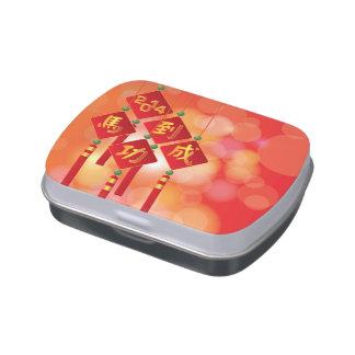 2014 placas chinas del Año Nuevo con el texto del  Jarrones De Dulces