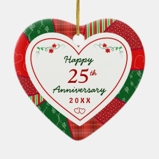 "2014 Quilt Design 25th or ""Any Year"" Anniversary Christmas Tree Ornaments"