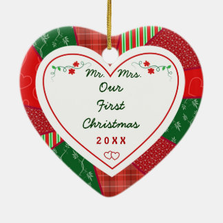 2014 Quilt Design Couples Our First Christmas Double-Sided Heart Ceramic Christmas Ornament