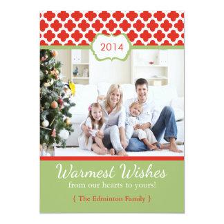 2014 Red Green Quatrefoil Christmas Flat Card