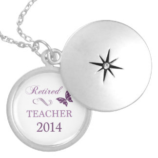 2014 Retired Teacher Silver Plated Necklace