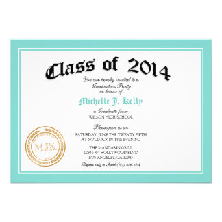 2014 Teal Blue Diploma Graduation Party Invite