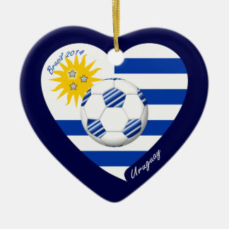 2014 URUGUAY SOCCER flag sun of May and ball Ceramic Ornament